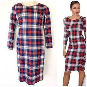 Dresses & Skirts - Plaid Knee Length Sheath Dress Bodycon Red Blue